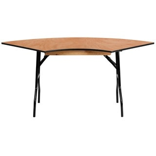Flash Furniture Serpentine Wood Folding Banquet Table, 4-feet Long
