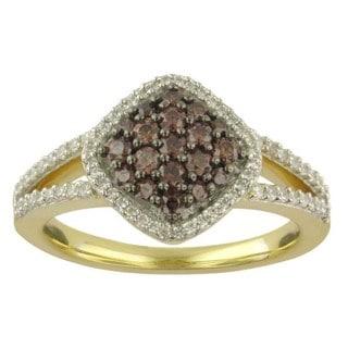 Divina 10k Yellow Gold 5/8ct TDW Champagne and White Diamond Ring (G-H, I1-I2)