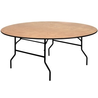 Flash Furniture Round Wood Folding Banquet Table with Finished Top