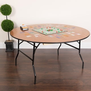 Flash Furniture 60-inch Round Wood Folding Banquet Table with Finished Top