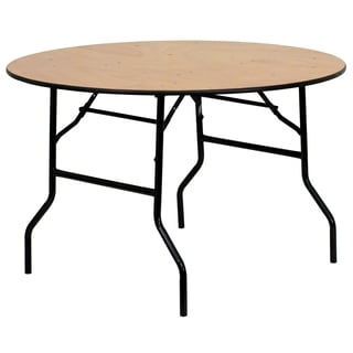Flash Furniture 48-inch Round Wood Folding Banquet Table with Finished Top