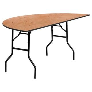 Flash Furniture 72-inch Half-Round Wood Folding Banquet Table