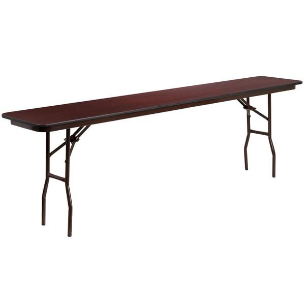 Cosco Folding Tables ... 96-inch Rectangular Walnut Melamine Laminate Folding Training Table