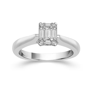 10k White Gold 1/3ct TDW Diamond Emerald-shape Solitaire Ring (H-I, I1-I2)