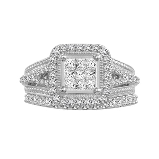 10k White Gold 1ct TDW Diamond Bridal Set (H-I, I1-I2)