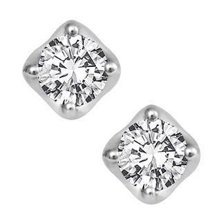 10k White Gold 3/4ct TDW Diamond Tulip Setting Stud Earrings (H-I, I2-I3)