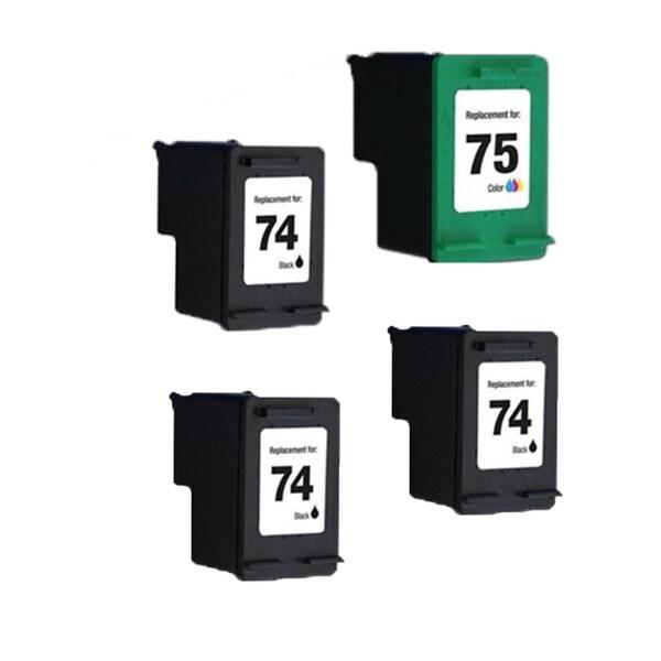 4PK HP74 HP75 3Black Color Compatible Inkjet Cartridge For D4200 J5700 C4200 (Pack of 4 )