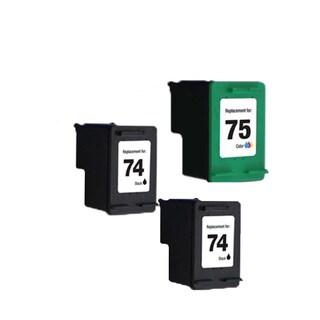3PK HP74 HP75 2Black Color Compatible Inkjet Cartridge For D4200 J5700 C4200 (Pack of 3 )