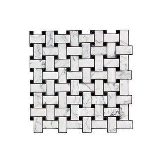 11.75-inch Marbled Lattice Pattern Stone Mosaic Wall Tile (Pack of 11)