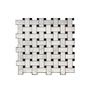 11.75-inch White/ Black Lattice Pattern Stone Mosaic Wall Tile (Pack of 11)