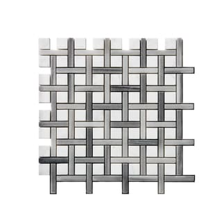 11.75-inch Line/ Square Pattern Stone Mosaic Wall Tile (Pack of 11)