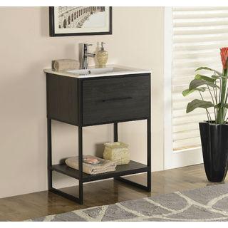 Legion Furniture 24-inch Espresso Finish Single Sink Vanity with Black Metal Frame