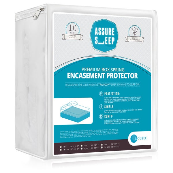 Assure Sleep - Water Proof - Bed Bug Proof Box Spring Encasement with the Latest Innovative TrainzipTM Technology
