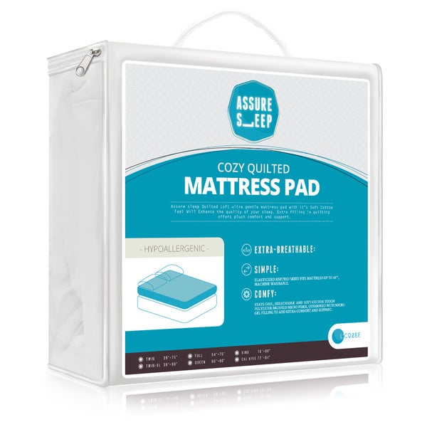 Assure Sleep - Cozy, Quilted Hypoallergenic Mattress Pad
