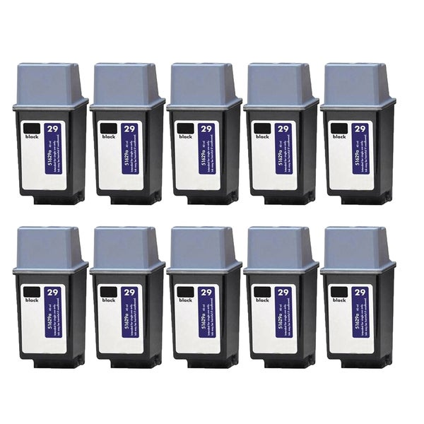 10PK HP 51629 (HP 29) Black Compatible Ink Cartridge For HP DeskJet 600, DeskJet 600c ( Pack of 10 )