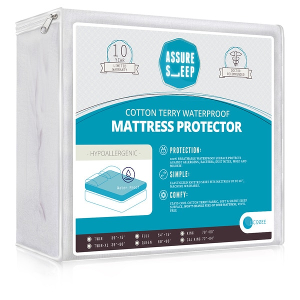 Assure Sleep Cotton Terry Hypoallergenic 100-percent Breathable, Waterproof Mattress Protector