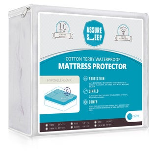 Assure Sleep Cotton Terry Hypoallergenic and Breathable Waterproof Mattress Protector