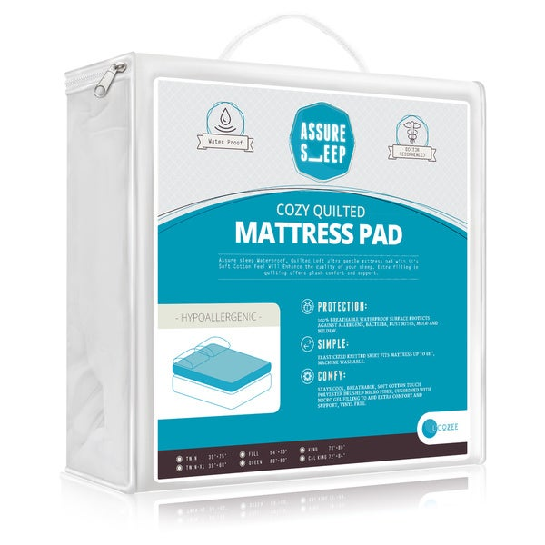 Assure Sleep - Cozy, Quilted Hypoallergenic, 100-percent, Waterproof Mattress Pad - Vinyl Free