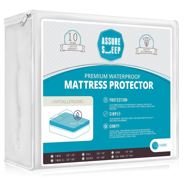 Assure Sleep Hypoallergenic Waterproof Mattress Protector - Vinyl Free