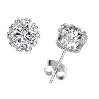 18k White Gold over Brass 2ct TGW Created Topaz Stud Earrings