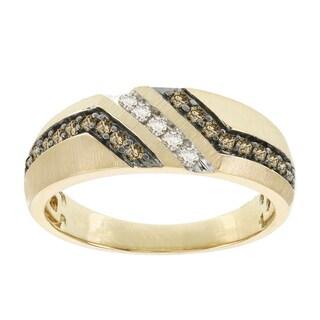 H Star 10k Yellow Gold Men's 1/3ct Brown and White Diamond Ring (I-J, I2-I3)