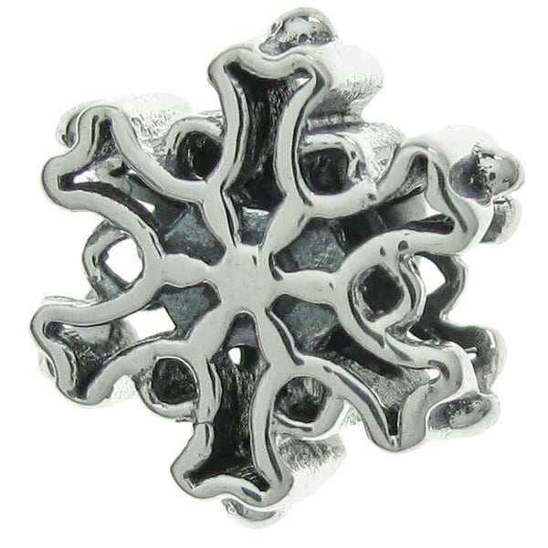 Queenberry Sterling Silver Christmas Winter Snowflake European Bead Charm