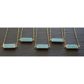 Mint Jules Turquoise Horizontal Bar with 24k Gold Overlay Necklace
