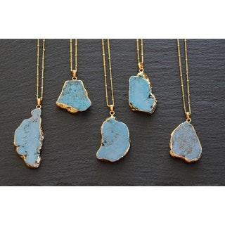 Mint Jules Raw Turquoise Stone Pendant Necklace