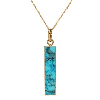 Mint Jules Turquoise Vertical Bar with 24k Gold Overlay Pendant Necklace