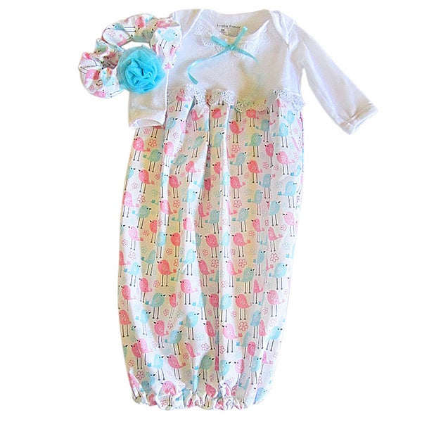 Layette Baby Pink and Aqua Birds Coming Home Outfit Set