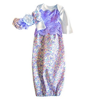 Layette Baby Girl Purple and Lace Gown with Matching Headband