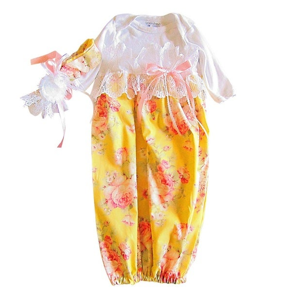 Baby Girl Layette Old World Yellow Victorin Flowers and Lace Set