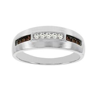 H Star 10k White Gold 1/4ct TDW Brown and White Diamond Men's Band Ring (I-J, I2-I3)