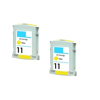 2PK C4838AN HP 11 Yellow Compatible Ink Cartridge For HP Designjet 1100 2200 2600 CP1700 ( Pack of 2 )
