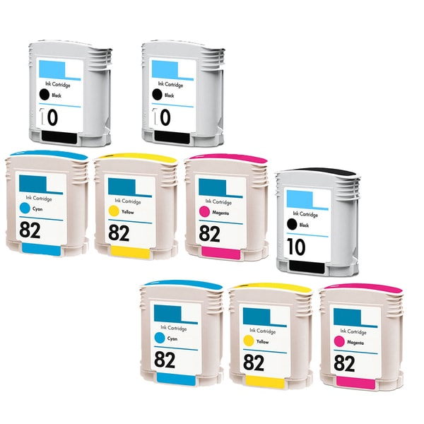 9PK C4844A C4911A - C4913A ( HP 82 ) 3BK 2C 2Y 2M Compatible Ink Cartridge For HP Designjet 1000 1100 800 500 ( Pack of 9 )