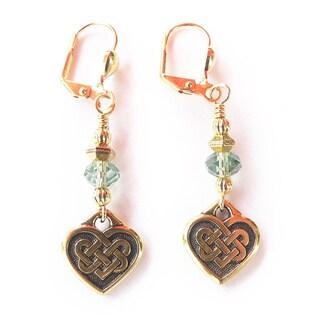 """Palmtree Gems """"Siobhan"""" Gold Dangle Heart Earrings"""