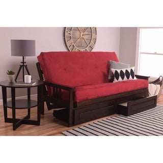 Somette Beli Mont Espresso Full-Size Futon Set with Suede Mattress and Storage Drawers