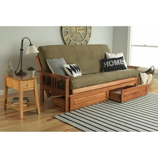 Somette Beli Mont Honey Oak Full-Size Futon Set with Suede Mattress and Storage Drawers