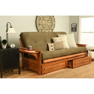 Somette Ali Phonics Honey Oak Full-Size Futon Set with Suede Mattress and Storage Drawers