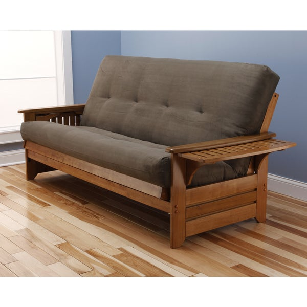 Somette Ali Phonics Honey Oak Full-Size Futon Set with Suede Mattress