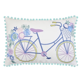 Bicycle Embroidered Decorative Pillow (14 x 20)