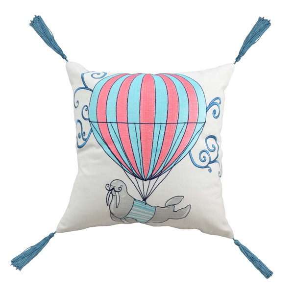 Walrus Embroidered 16-inch Decorative Pillow