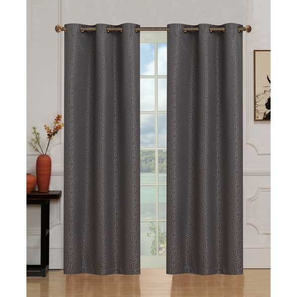 Jackson Blackout Jacquard Window Panel Pairs w/ Grommets