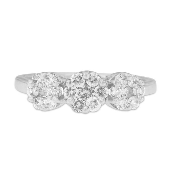 14k White Gold 1 1/5ct TDW Round Diamond 3-stone Cluster Ring (H-I,I1-I2)