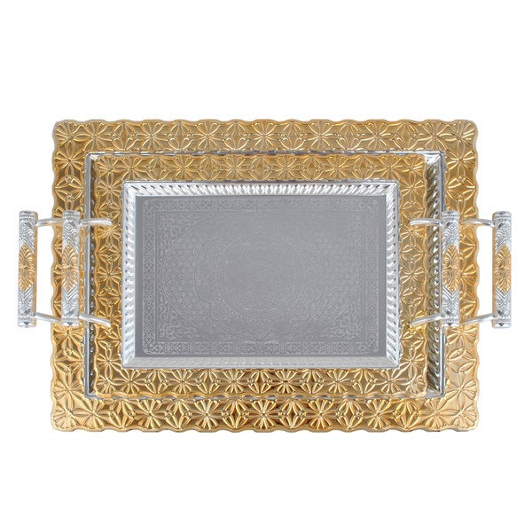 Silver Plated with Gold Trim 2-piece Serving Tray Set