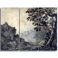 Design Art 'Alexander Cozens - A Road in a Mountain Landscape' Canvas Art Print - 36Wx28H Inches - 3 Panels