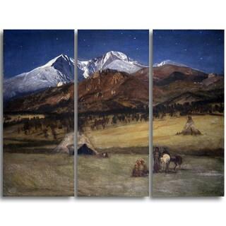 Design Art 'Albert Bierstadt - Indian Encampment Evening' 3-panel Canvas Art Print - 36x28-inch