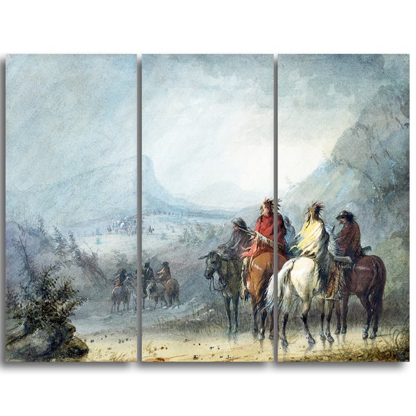 Design Art 'Alfred Jacob Miller - Waiting for the Caravan' Large Landscape Canvas Art Print