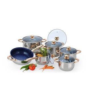 Stainless Steel Belly-Shaped 12-piece Cookware Set with Triple-layered Capsulated Bottom