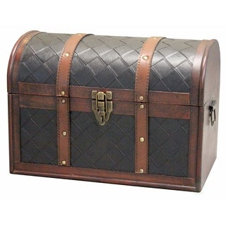 Wood and Leather Domed Treasure Chest